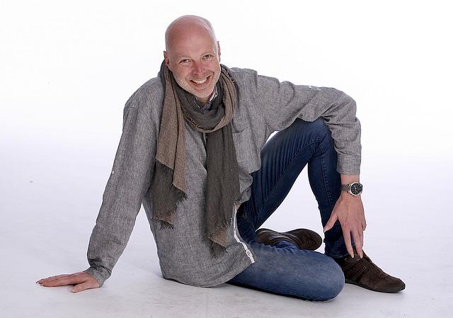 muž, model, šála, svetr