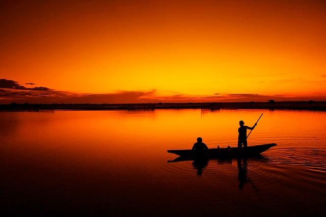 rybaření západ slunce