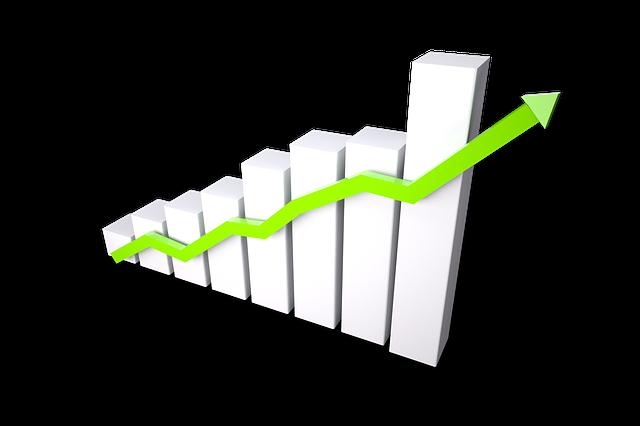 graf světlý, bílý, znázorňující sloupce vzrůstající a zelenou šipku přes ně směrem nahoru