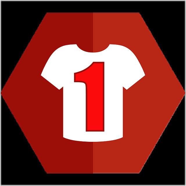 bílé tričko s jedničkou na červeném podkladu